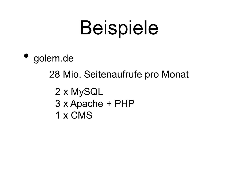 Beispiele golem.de 28 Mio. Seitenaufrufe pro Monat 2 x MySQL 3 x Apache + PHP 1 x CMS