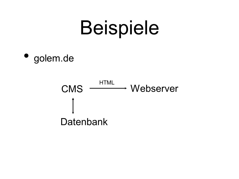 Beispiele golem.de CMS HTML Datenbank Webserver