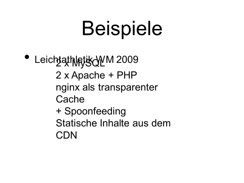 Beispiele Leichtathletik WM 2009 2 x MySQL 2 x Apache + PHP nginx als transparenter Cache + Spoonfeeding Statische Inhalte aus dem CDN
