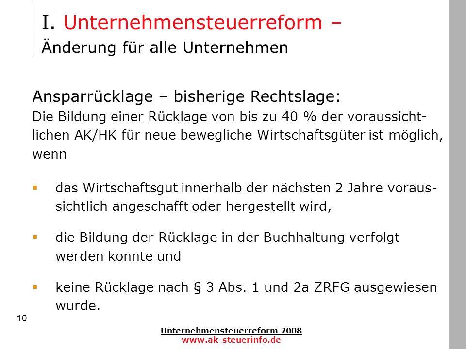 Unternehmensteuerreform 2008 www.ak-steuerinfo.de 10 Ansparrücklage – bisherige Rechtslage: Die Bildung einer Rücklage von bis zu 40 % der voraussicht