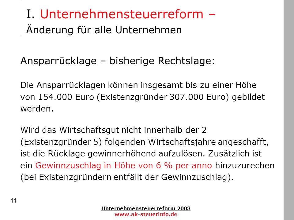 Unternehmensteuerreform 2008 www.ak-steuerinfo.de 11 Ansparrücklage – bisherige Rechtslage: Die Ansparrücklagen können insgesamt bis zu einer Höhe von