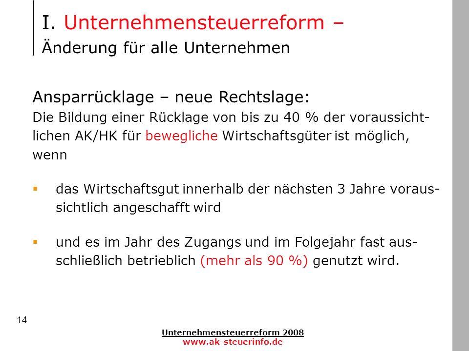 Unternehmensteuerreform 2008 www.ak-steuerinfo.de 14 Ansparrücklage – neue Rechtslage: Die Bildung einer Rücklage von bis zu 40 % der voraussicht- lic