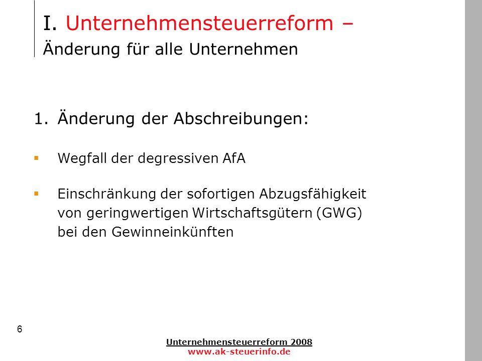 Unternehmensteuerreform 2008 www.ak-steuerinfo.de 6 1.Änderung der Abschreibungen: Wegfall der degressiven AfA Einschränkung der sofortigen Abzugsfähi