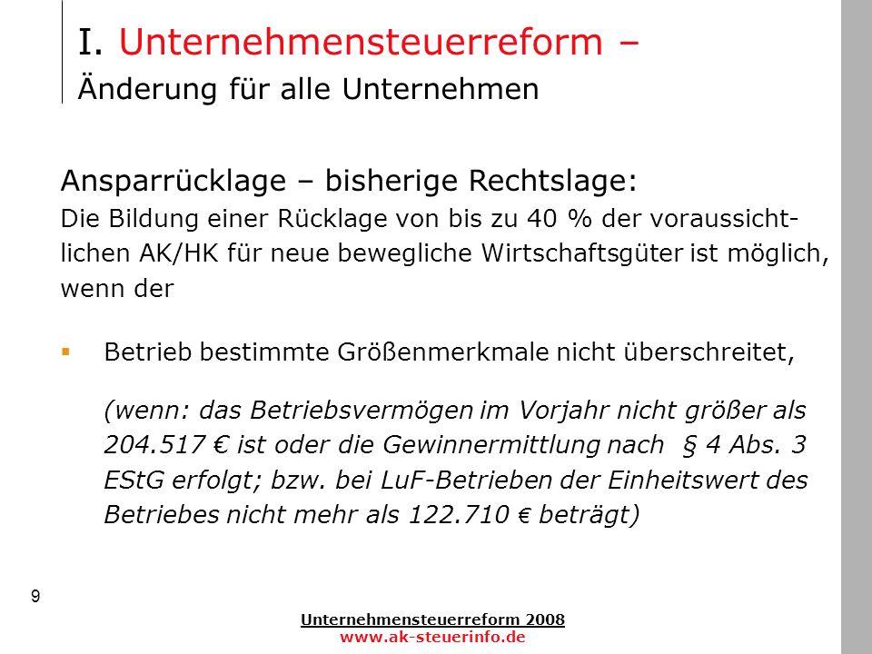 Unternehmensteuerreform 2008 www.ak-steuerinfo.de 9 Ansparrücklage – bisherige Rechtslage: Die Bildung einer Rücklage von bis zu 40 % der voraussicht-