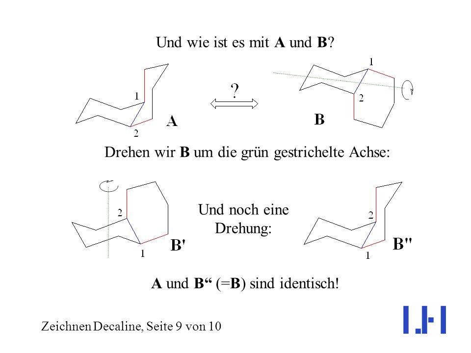 Zeichnen Decaline, Seite 8 von 10 Vergleichen wir Struktur C mit der von A: A und C (= C) sind Spiegelbilder! Cis-Decalin ist also chiral, und die Rin