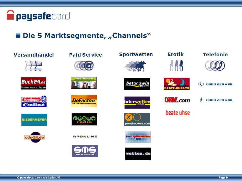© paysafecard.com Wertkarten AGPage 9 Die 5 Marktsegmente, Channels Versandhandel Paid Service Telefonie Sportwetten Erotik