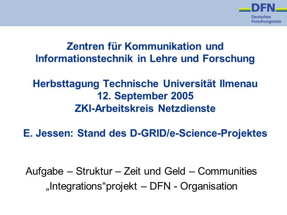 Zentren für Kommunikation und Informationstechnik in Lehre und Forschung Herbsttagung Technische Universität Ilmenau 12. September 2005 ZKI-Arbeitskre
