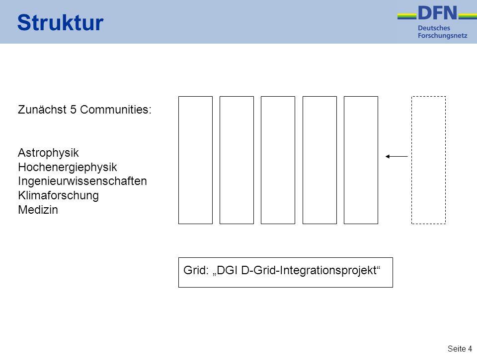 Seite 4 Struktur Zunächst 5 Communities: Astrophysik Hochenergiephysik Ingenieurwissenschaften Klimaforschung Medizin Grid: DGI D-Grid-Integrationspro