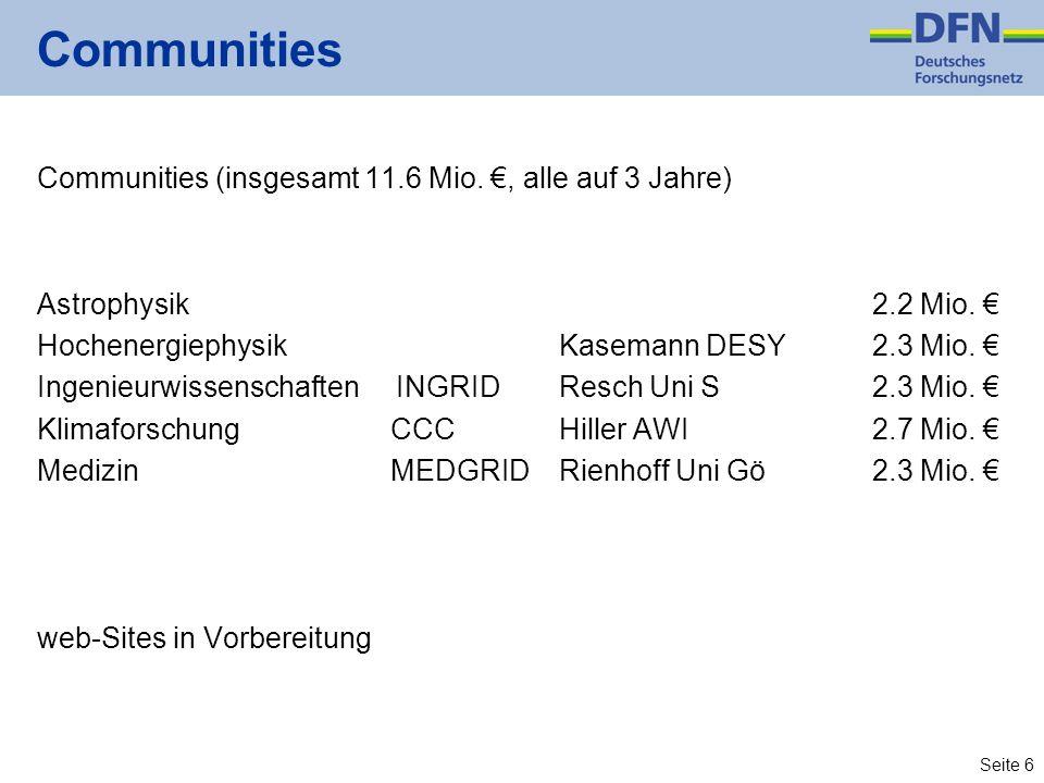 Seite 6 Communities Communities (insgesamt 11.6 Mio., alle auf 3 Jahre) Astrophysik2.2 Mio. HochenergiephysikKasemann DESY2.3 Mio. Ingenieurwissenscha