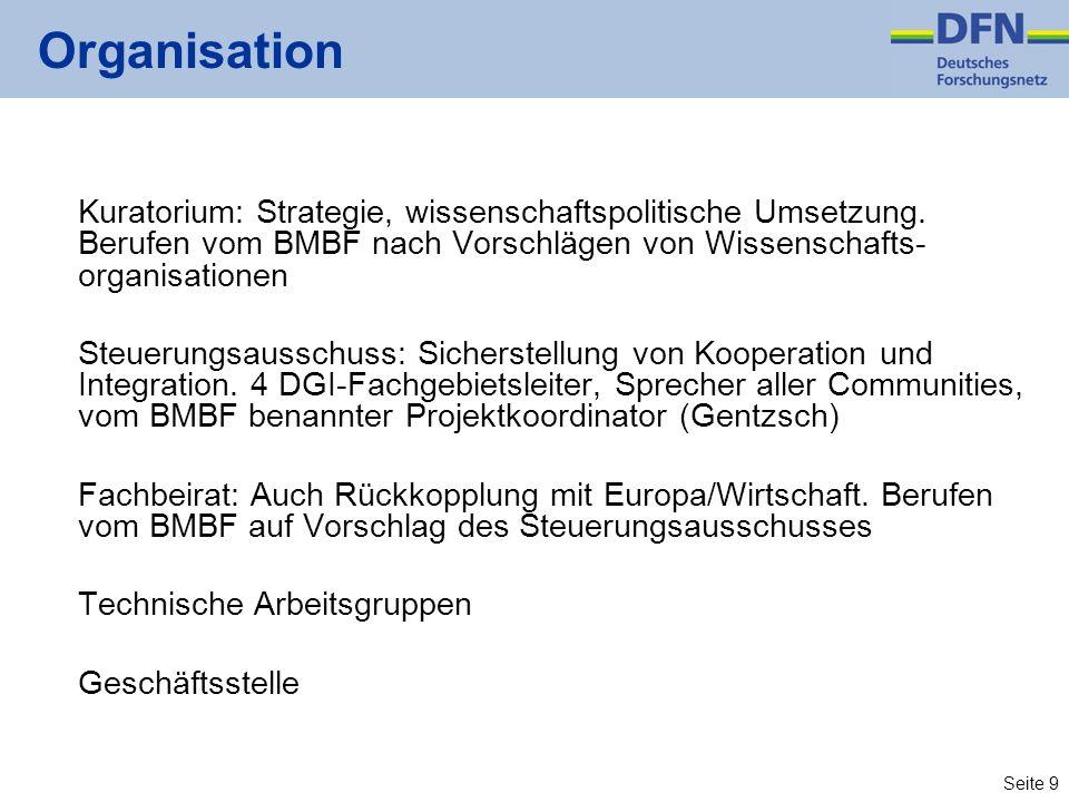 Seite 9 Organisation Kuratorium: Strategie, wissenschaftspolitische Umsetzung. Berufen vom BMBF nach Vorschlägen von Wissenschafts- organisationen Ste