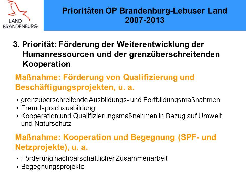 3. Priorität: Förderung der Weiterentwicklung der Humanressourcen und der grenzüberschreitenden Kooperation Prioritäten OP Brandenburg-Lebuser Land 20
