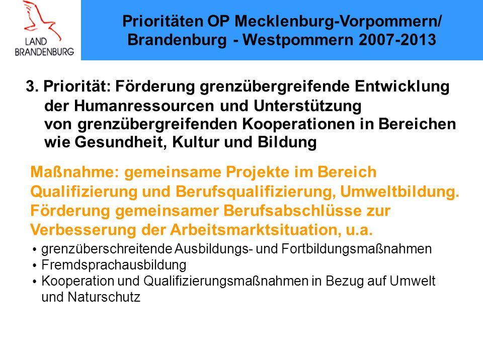 3. Priorität: Förderung grenzübergreifende Entwicklung der Humanressourcen und Unterstützung von grenzübergreifenden Kooperationen in Bereichen wie Ge