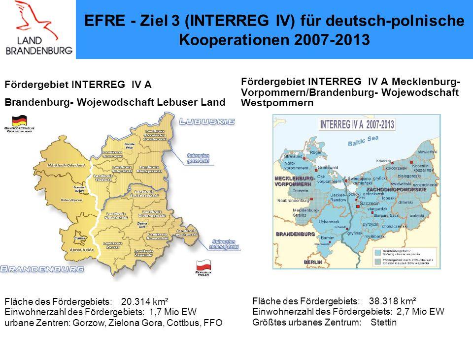 Operationelle Programme (OPs) Fördergrundlage ist jeweils ein deutsch-polnisches Operationelles Programm Bestandteile des Programms sind eine sozioökonomische Situationsdarstellung einschließlich einer Schwächen- und Stärke - Analyse die Programmstrategie die Prioritäten und Maßnahmen die Darstellung der Kohärenz der Entwicklungsstrategie die Finanzplanung und u.a.