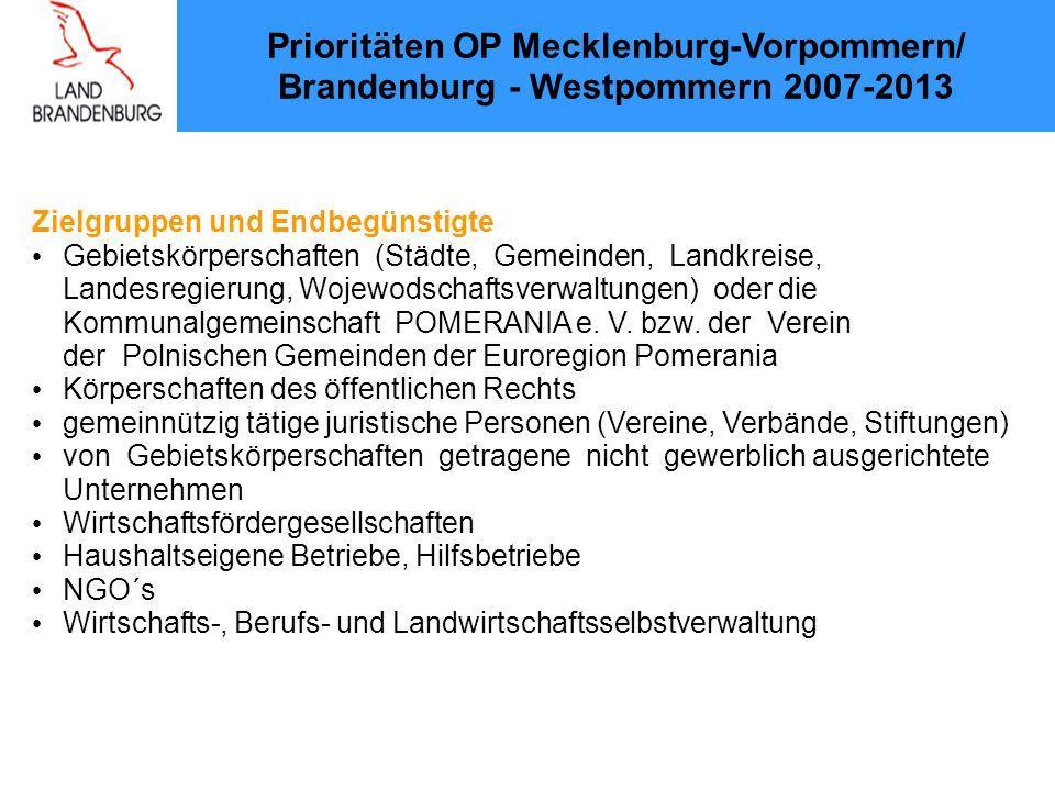 Prioritäten OP Mecklenburg-Vorpommern/ Brandenburg - Westpommern 2007-2013 Zielgruppen und Endbegünstigte Gebietskörperschaften (Städte, Gemeinden, Landkreise, Landesregierung, Wojewodschaftsverwaltungen) oder die Kommunalgemeinschaft POMERANIA e.