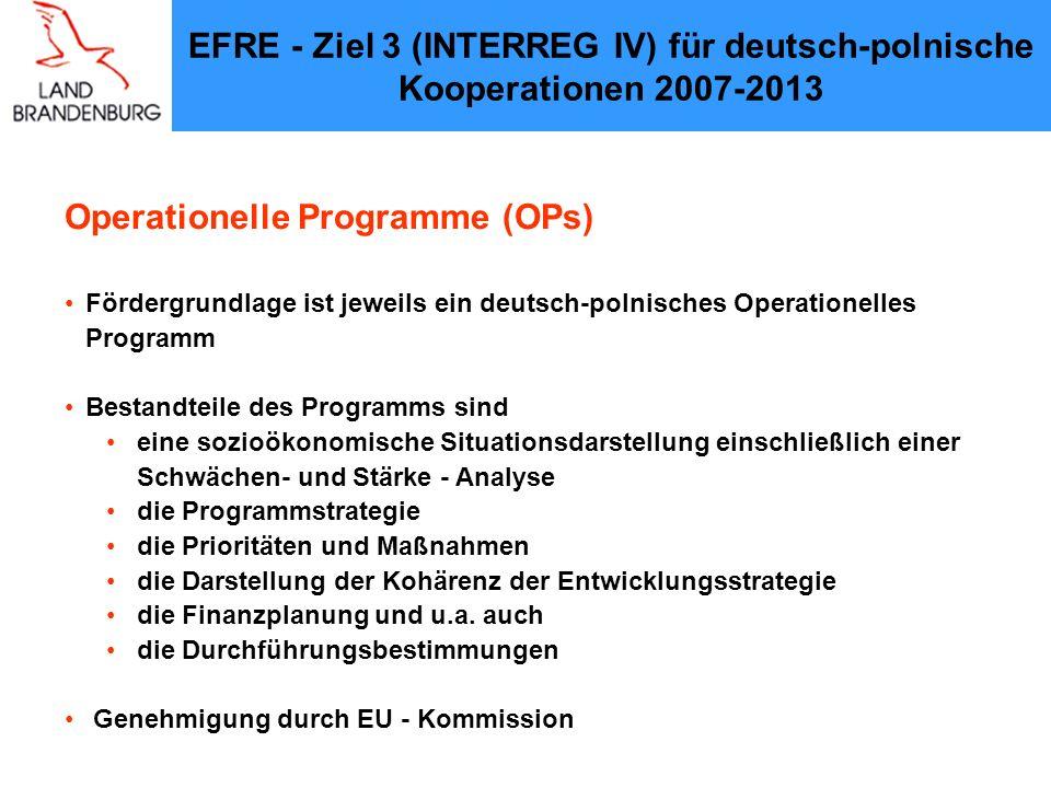 Operationelles Programm zur grenzüberschreitenden Zusammenarbeit Brandenburg – Polen (Wojewodschaft Lubuskie) 2007 – 2013 Ziel Europäische territoriale Zusammenarbeit Stand: 5.