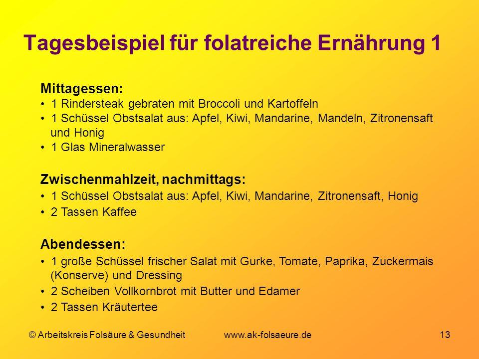 © Arbeitskreis Folsäure & Gesundheit www.ak-folsaeure.de 13 Tagesbeispiel für folatreiche Ernährung 1 Mittagessen: 1 Rindersteak gebraten mit Broccoli