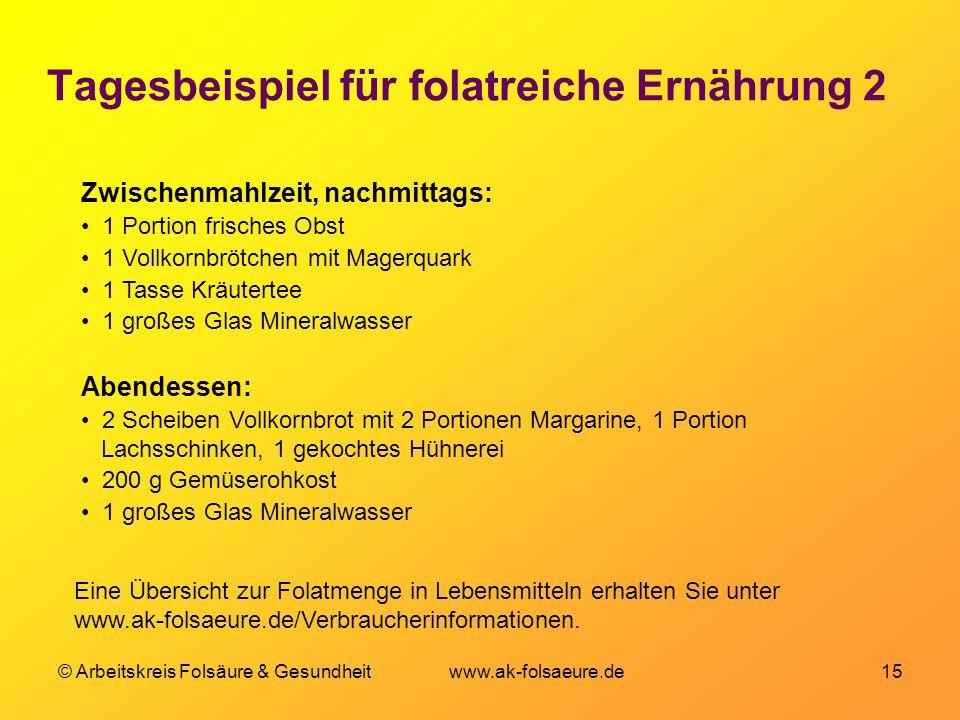 © Arbeitskreis Folsäure & Gesundheit www.ak-folsaeure.de 15 Tagesbeispiel für folatreiche Ernährung 2 Zwischenmahlzeit, nachmittags: 1 Portion frische