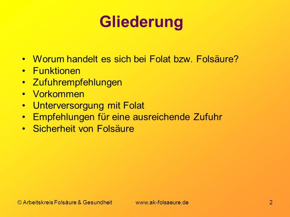 © Arbeitskreis Folsäure & Gesundheit www.ak-folsaeure.de 2 Gliederung Worum handelt es sich bei Folat bzw. Folsäure? Funktionen Zufuhrempfehlungen Vor