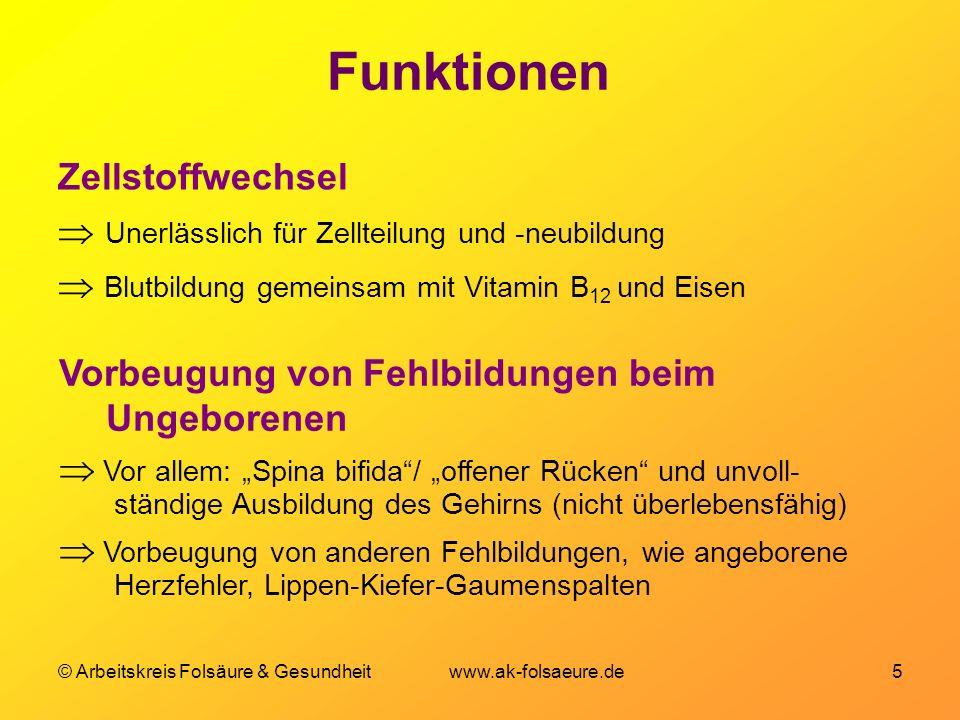 © Arbeitskreis Folsäure & Gesundheit www.ak-folsaeure.de 5 Funktionen Zellstoffwechsel Unerlässlich für Zellteilung und -neubildung Blutbildung gemein
