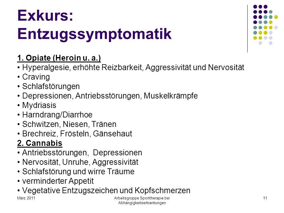 März 2011Arbeitsgruppe Sporttherapie bei Abhängigkeitserkrankungen 11 Exkurs: Entzugssymptomatik 1. Opiate (Heroin u. a.) Hyperalgesie, erhöhte Reizba