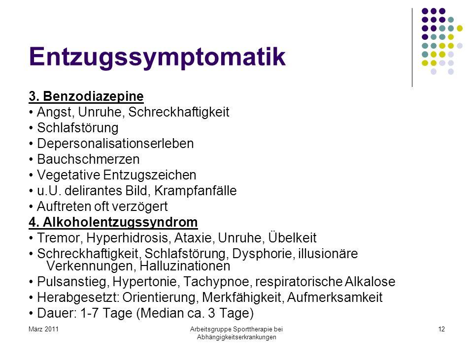 März 2011Arbeitsgruppe Sporttherapie bei Abhängigkeitserkrankungen 12 Entzugssymptomatik 3. Benzodiazepine Angst, Unruhe, Schreckhaftigkeit Schlafstör