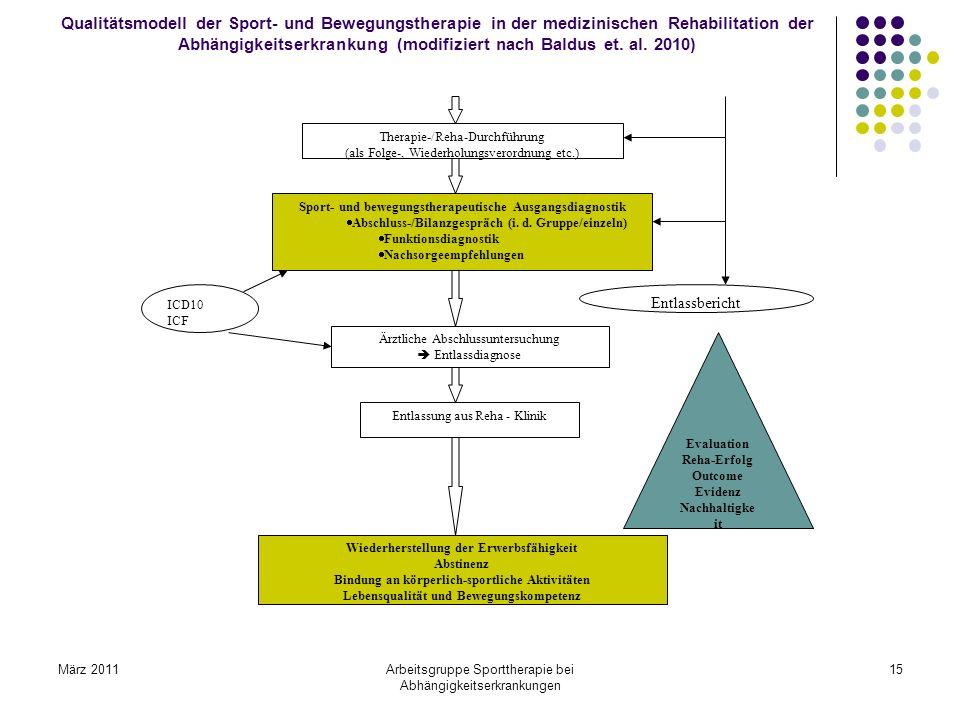 März 2011Arbeitsgruppe Sporttherapie bei Abhängigkeitserkrankungen 15 Qualitätsmodell der Sport- und Bewegungstherapie in der medizinischen Rehabilita