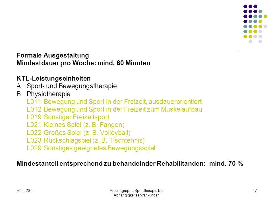 März 2011Arbeitsgruppe Sporttherapie bei Abhängigkeitserkrankungen 17 Formale Ausgestaltung Mindestdauer pro Woche: mind. 60 Minuten KTL-Leistungseinh
