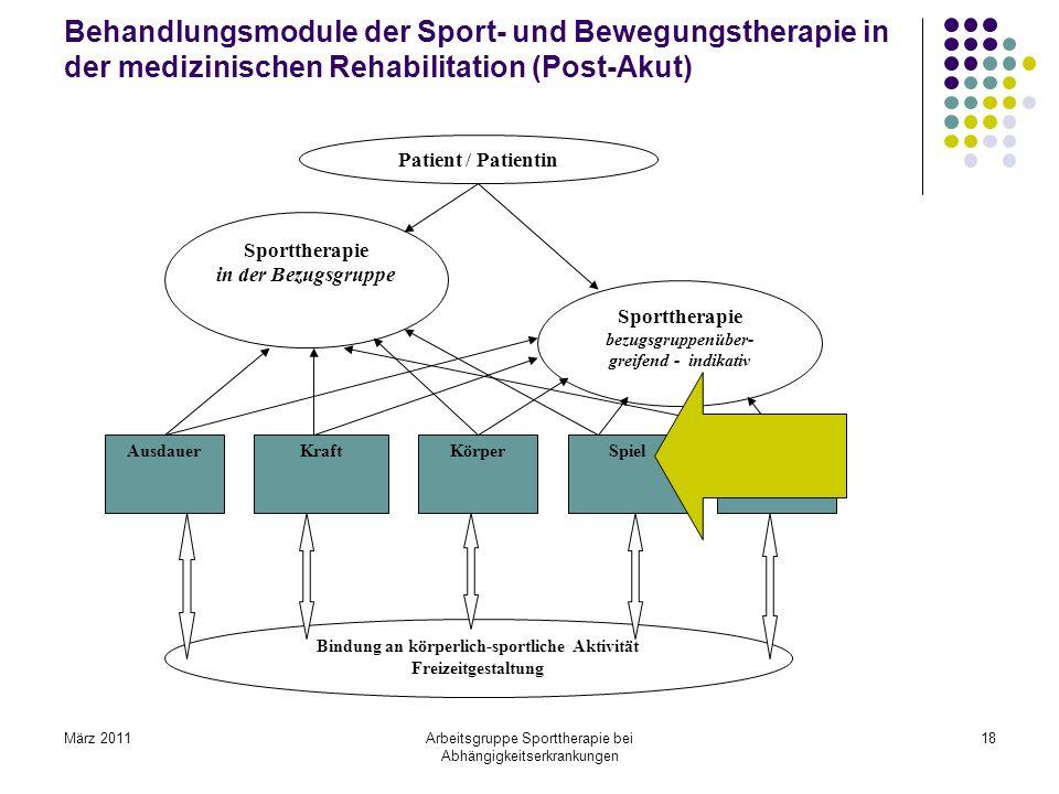 März 2011Arbeitsgruppe Sporttherapie bei Abhängigkeitserkrankungen 18 Behandlungsmodule der Sport- und Bewegungstherapie in der medizinischen Rehabili