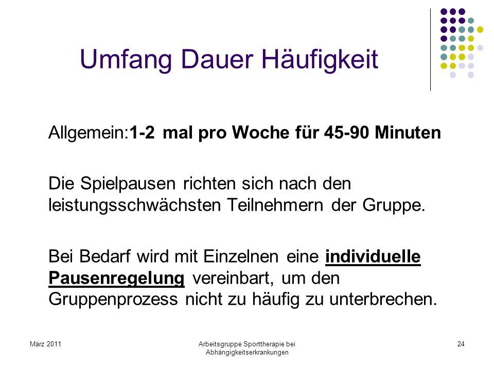März 2011Arbeitsgruppe Sporttherapie bei Abhängigkeitserkrankungen 24 Umfang Dauer Häufigkeit Allgemein:1-2 mal pro Woche für 45-90 Minuten Die Spielp