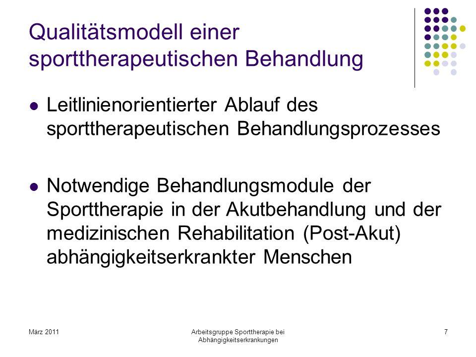 März 2011Arbeitsgruppe Sporttherapie bei Abhängigkeitserkrankungen 7 Qualitätsmodell einer sporttherapeutischen Behandlung Leitlinienorientierter Abla