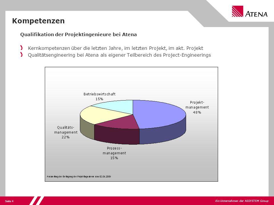 Seite 4 Ein Unternehmen der ASSYSTEM Group Qualifikation der Projektingenieure bei Atena Kernkompetenzen über die letzten Jahre, im letzten Projekt, i