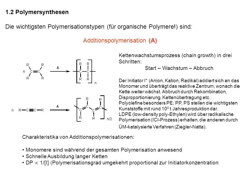 Voraussetzung für Additionspolymerisation: Stabile Monomere mit Mehrfachbindungen: Olefine, Alkine Anorganische/metallorganische Monomere mit Mehrfachbindungen sind i.A.