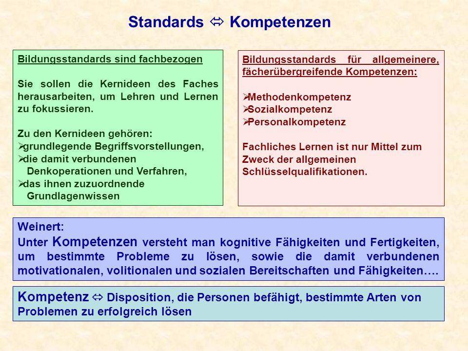 Standards Kompetenzen Weinert: Unter Kompetenzen versteht man kognitive Fähigkeiten und Fertigkeiten, um bestimmte Probleme zu lösen, sowie die damit verbundenen motivationalen, volitionalen und sozialen Bereitschaften und Fähigkeiten….