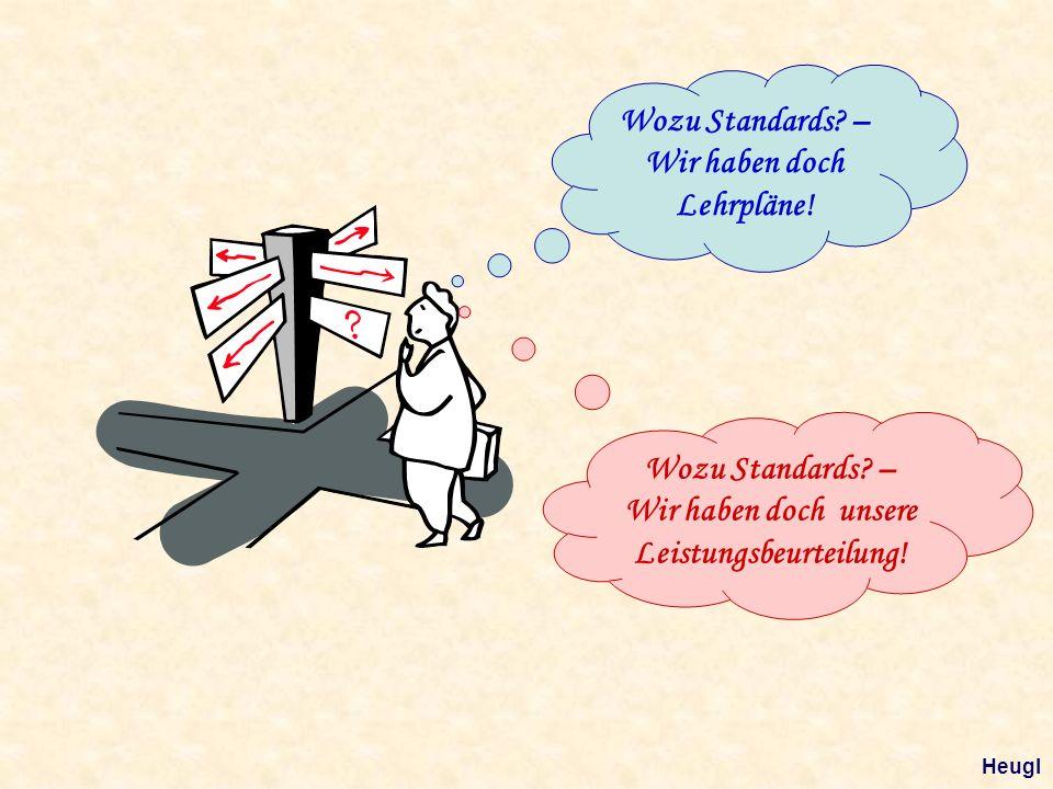 Wozu Standards? – Wir haben doch Lehrpläne! Wozu Standards? – Wir haben doch unsere Leistungsbeurteilung! Heugl