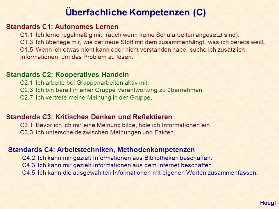 Überfachliche Kompetenzen (C) Standards C1: Autonomes Lernen C1.1 Ich lerne regelmäßig mit (auch wenn keine Schularbeiten angesetzt sind). C1.3 Ich üb