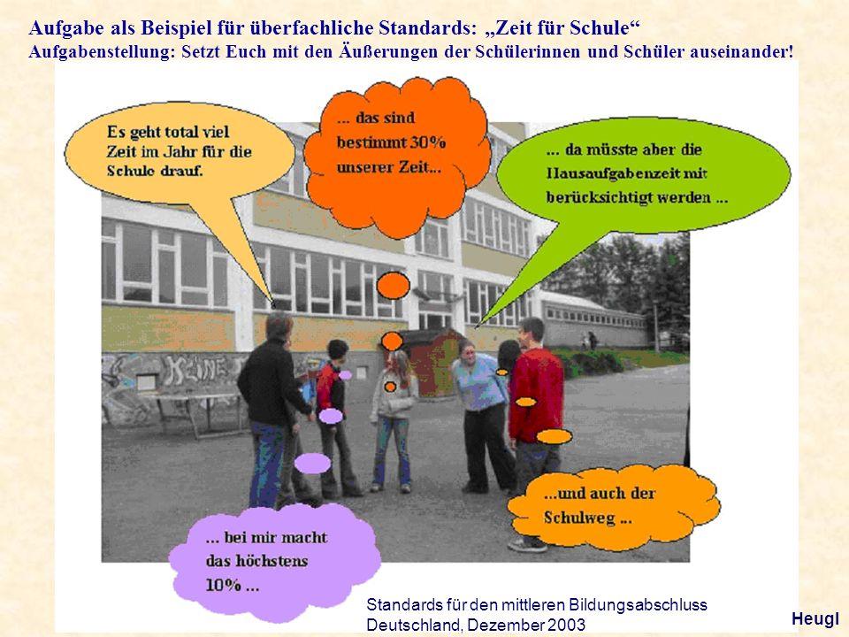 Aufgabe als Beispiel für überfachliche Standards: Zeit für Schule Aufgabenstellung: Setzt Euch mit den Äußerungen der Schülerinnen und Schüler auseina