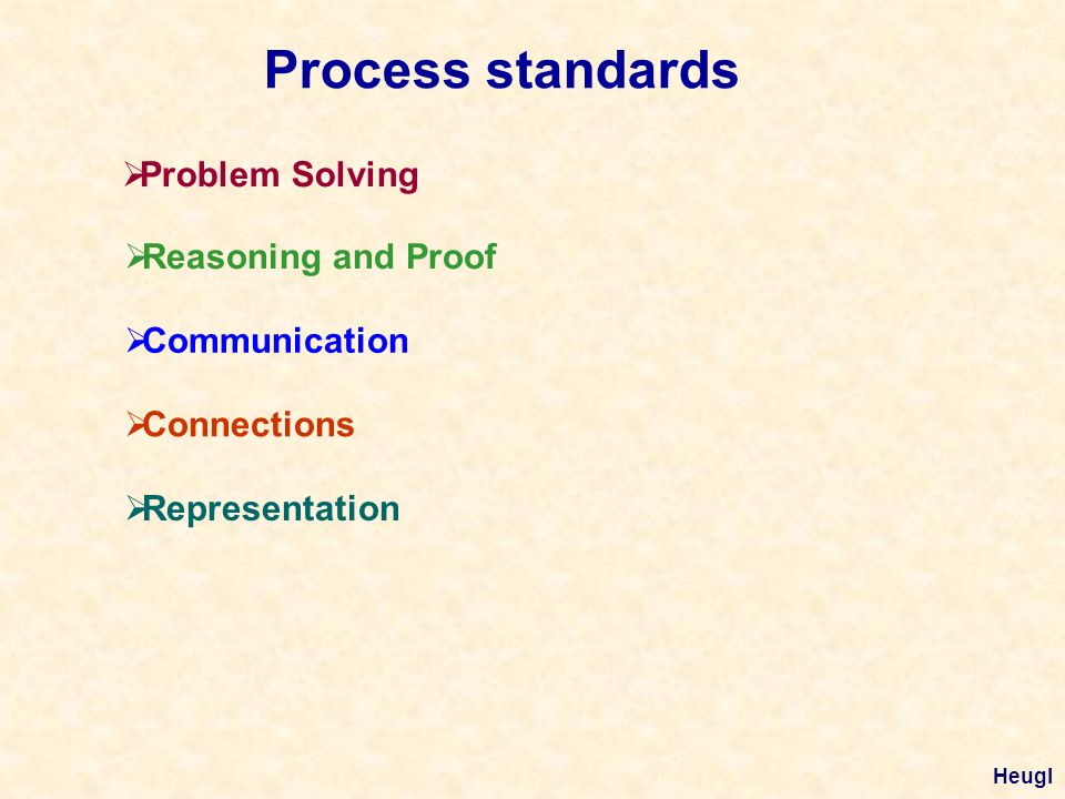 Process standards Problem Solving Reasoning and Proof Communication Connections Representation Heugl