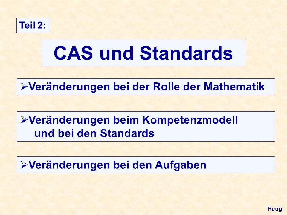 CAS und Standards Teil 2: Veränderungen bei der Rolle der Mathematik Veränderungen beim Kompetenzmodell und bei den Standards Veränderungen bei den Aufgaben Heugl