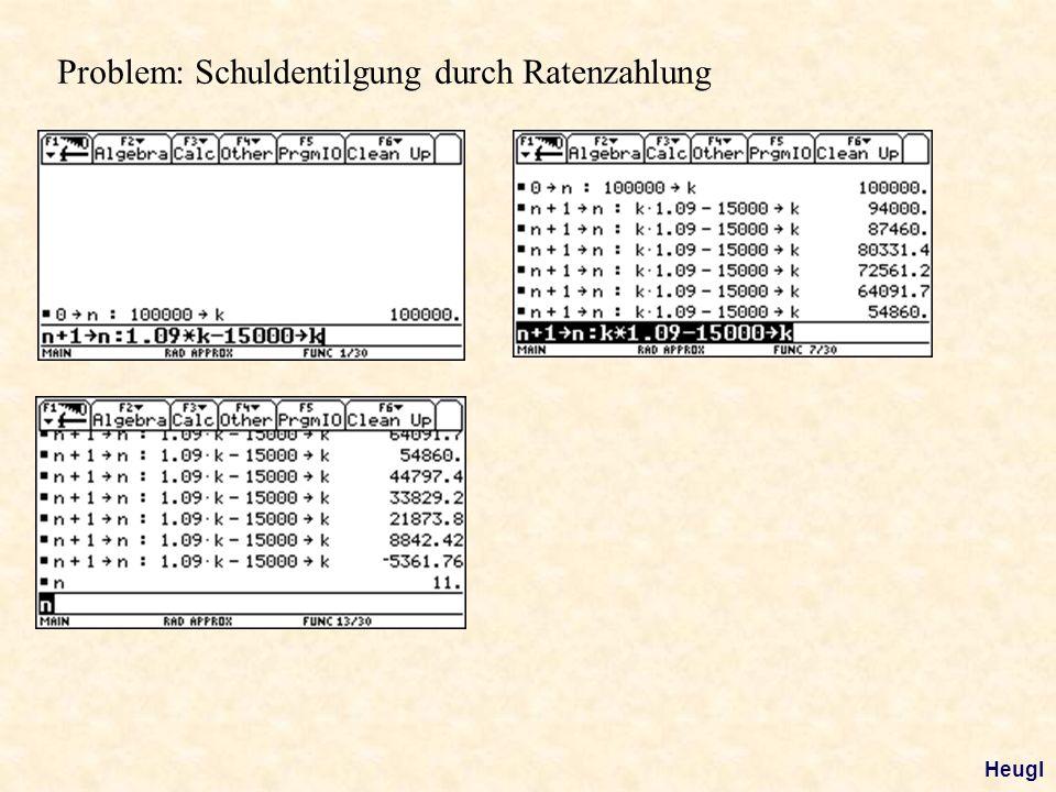 Problem: Schuldentilgung durch Ratenzahlung Heugl