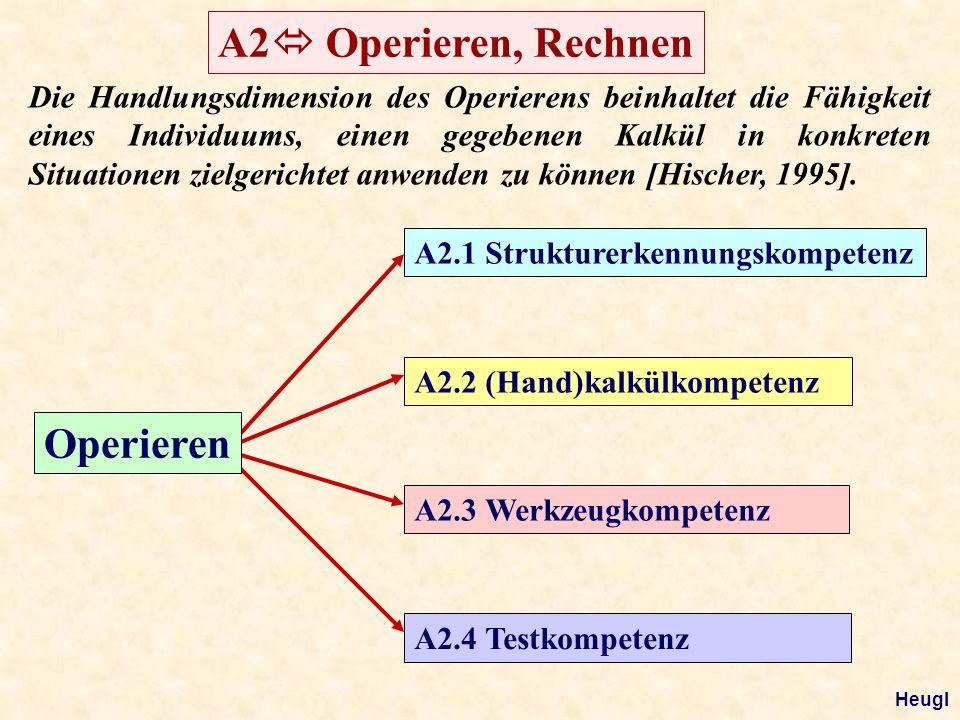Operieren A2.1 Strukturerkennungskompetenz A2.2 (Hand)kalkülkompetenz A2.3 Werkzeugkompetenz A2.4 Testkompetenz Die Handlungsdimension des Operierens beinhaltet die Fähigkeit eines Individuums, einen gegebenen Kalkül in konkreten Situationen zielgerichtet anwenden zu können [Hischer, 1995].