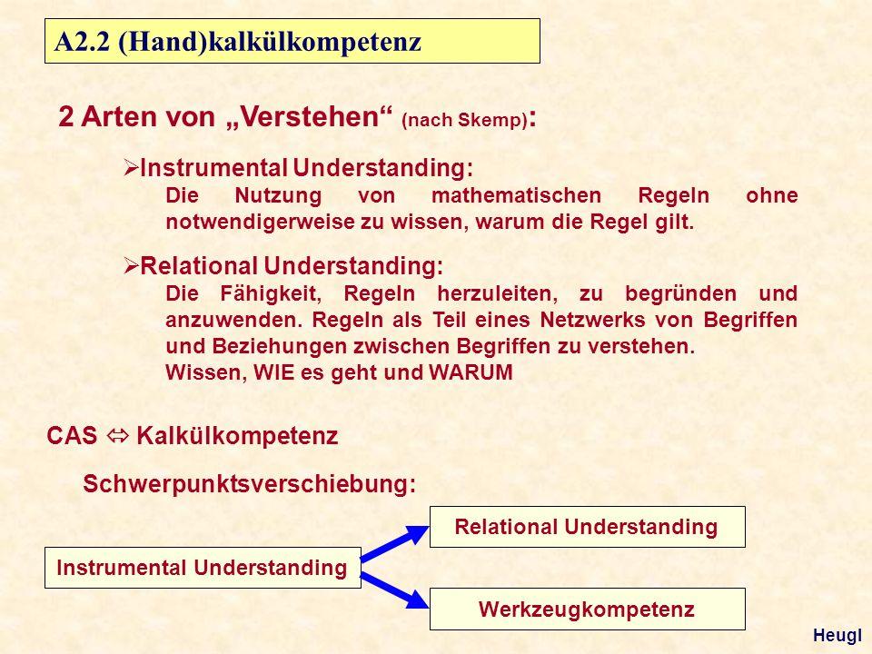 A2.2 (Hand)kalkülkompetenz Instrumental Understanding: Die Nutzung von mathematischen Regeln ohne notwendigerweise zu wissen, warum die Regel gilt.