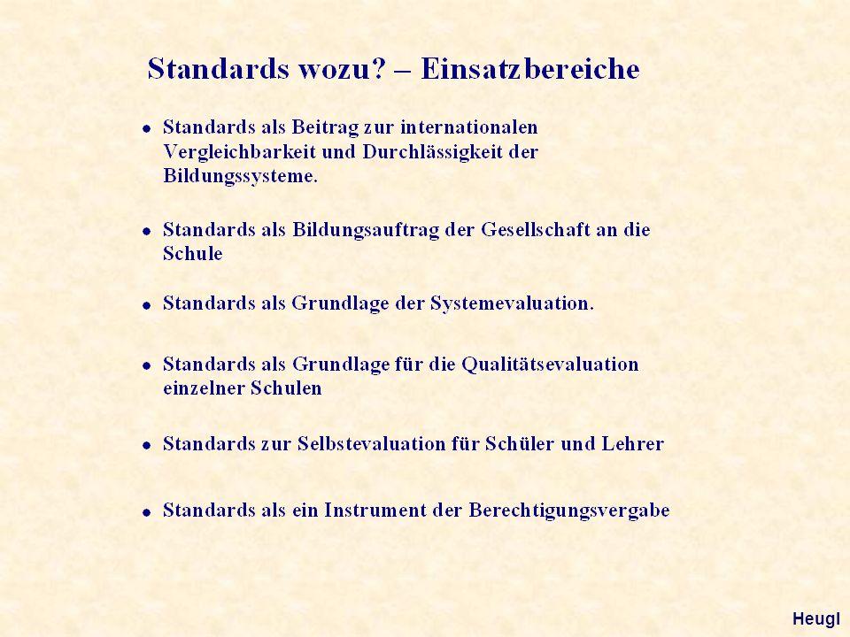 Begriffsklärung II Inhaltsbezogene Standards sind Vorgaben über Inhalte und zugeordnete Ziele.