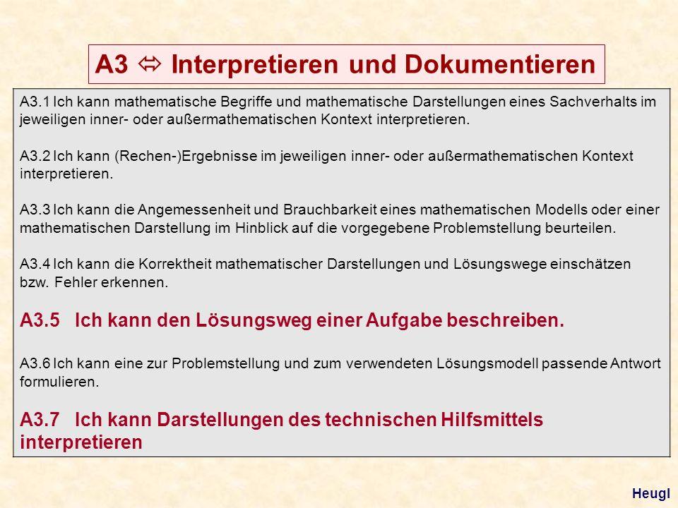 A3 Interpretieren und Dokumentieren A3.1Ich kann mathematische Begriffe und mathematische Darstellungen eines Sachverhalts im jeweiligen inner- oder a