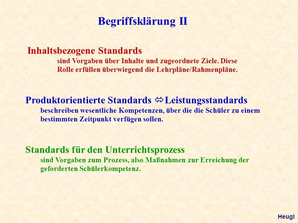 Begriffsklärung II Inhaltsbezogene Standards sind Vorgaben über Inhalte und zugeordnete Ziele. Diese Rolle erfüllen überwiegend die Lehrpläne/Rahmenpl
