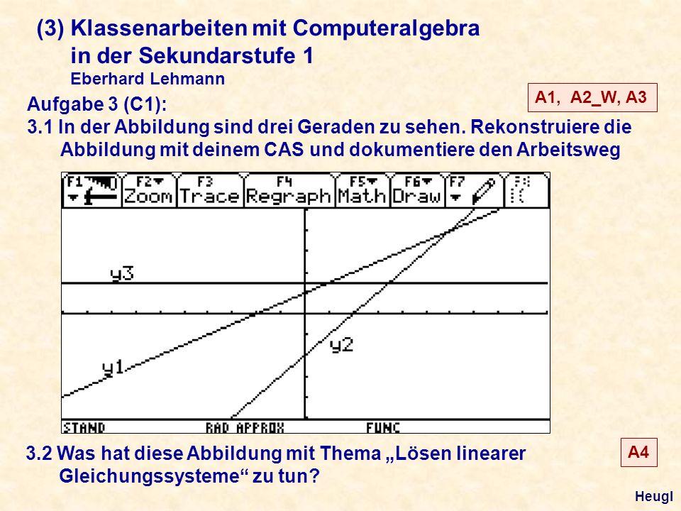 (3) Klassenarbeiten mit Computeralgebra in der Sekundarstufe 1 Eberhard Lehmann Aufgabe 3 (C1): 3.1 In der Abbildung sind drei Geraden zu sehen.