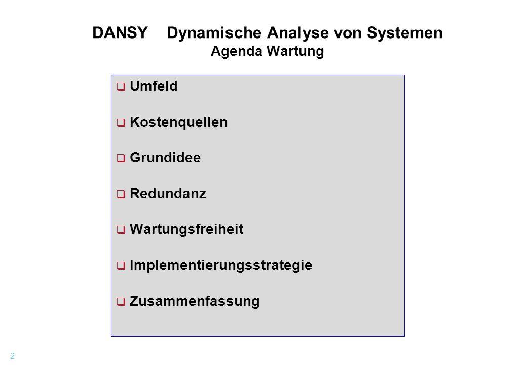 2 DANSY Dynamische Analyse von Systemen Agenda Wartung q Umfeld q Kostenquellen q Grundidee q Redundanz q Wartungsfreiheit q Implementierungsstrategie