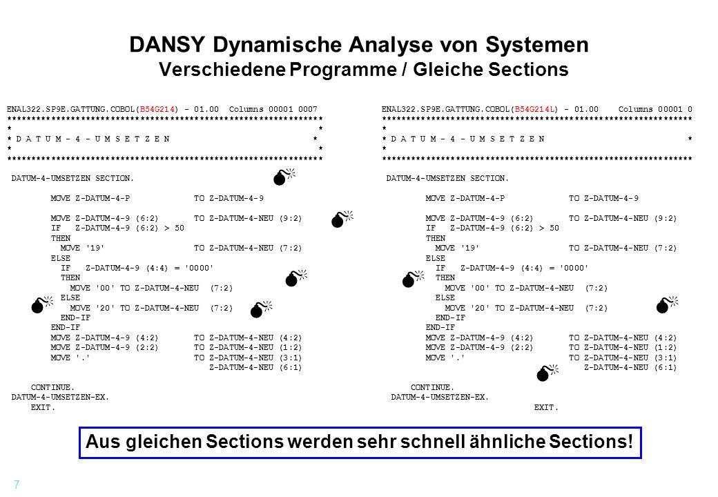 7 DANSY Dynamische Analyse von Systemen Verschiedene Programme / Gleiche Sections ENAL322.SP9E.GATTUNG.COBOL(B54G214) - 01.00 Columns 00001 0007 *****