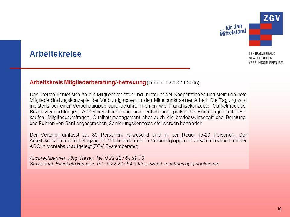 Arbeitskreise Arbeitskreis Mitgliederberatung/-betreuung (Termin: 02./03.11.2005) Das Treffen richtet sich an die Mitgliederberater und -betreuer der
