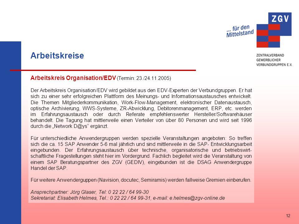 Arbeitskreise Arbeitskreis Organisation/EDV (Termin: 23./24.11.2005) Der Arbeitskreis Organisation/EDV wird gebildet aus den EDV-Experten der Verbundg