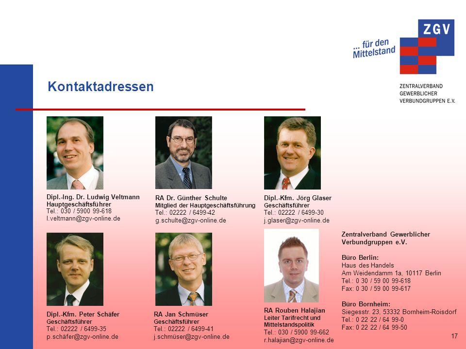 Kontaktadressen Dipl.-Ing. Dr. Ludwig Veltmann Hauptgeschäftsführer Tel.: 030 / 5900 99-618 l.veltmann@zgv-online.de RA Dr. Günther Schulte Mitglied d